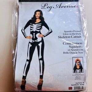 Skeleton cat suit costume
